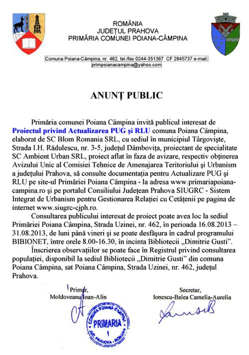 Microsoft Word - Anunt public PUG.doc