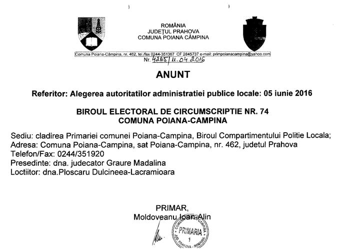 Anunt privind Biroul Electoral de Circumscriptie Poiana Campina ALEGERI LOCALE 2016