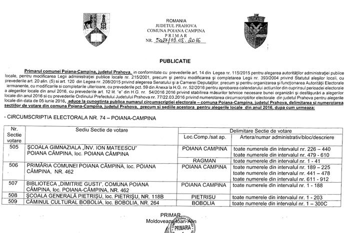 Sectii votare Poiana Campina ALEGERI LOCALE 2016