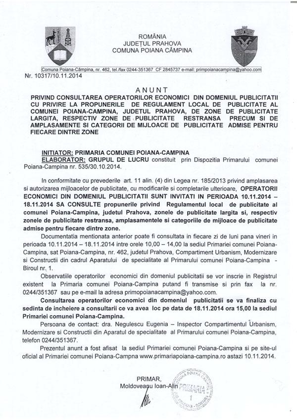 Anunt regulament local publicitate CONSULTARE PRIVIND REGULAMENTUL LOCAL DE PUBLICITATE