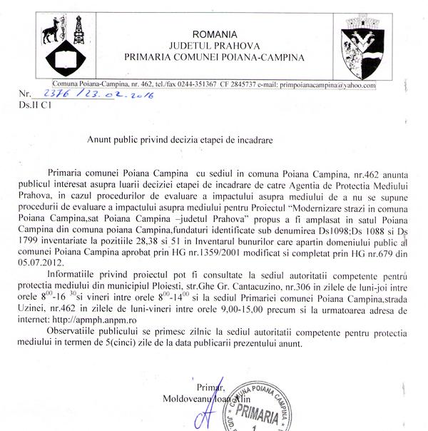 Anunt public Poiana Anunț public privind decizia etapei de încadrare de către APM Prahova